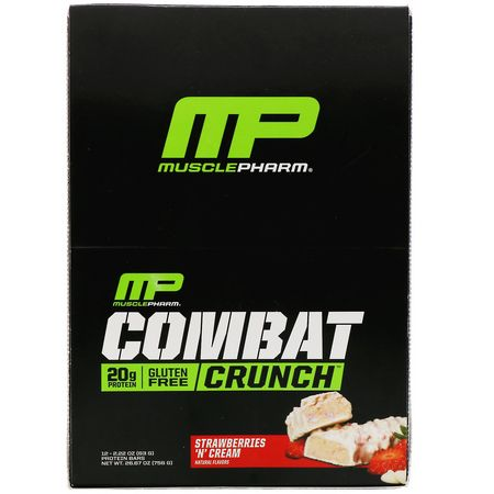 牛奶蛋白棒, 乳清蛋白棒: MusclePharm, Combat Crunch, Strawberries 'N' Cream, 12 Bars, 2.22 oz (63 g) Each
