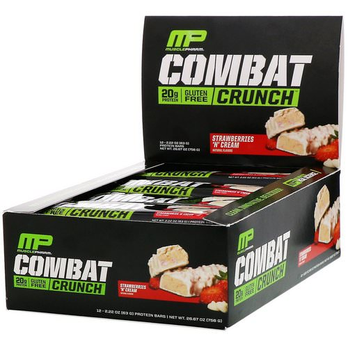 MusclePharm, Combat Crunch, Strawberries 'N' Cream, 12 Bars, 2.22 oz (63 g) Each Review