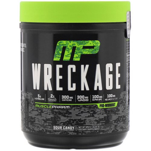 MusclePharm, Wreckage Pre-Workout, Sour Candy, 13.23 oz (375 g) Review