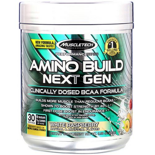 Muscletech, Amino Build, Next Gen BCAA Formula, White Raspberry, 9.98 oz (283 g) Review