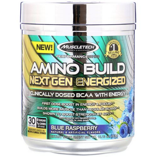 Muscletech, Amino Build, Next Gen Energized BCAA, Blue Raspberry, 10.13 oz (287 g) Review