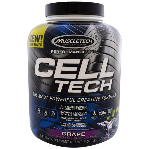 Muscletech, Cell Tech, The Most Powerful Creatine Formula, Grape, 6.04 lbs (2.74 kg) Review
