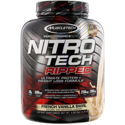 Muscletech, Nitro Tech Ripped, Ultimate Protein + Weight Loss Formula, French Vanilla Swirl, 4 lbs (1.81 kg) Review