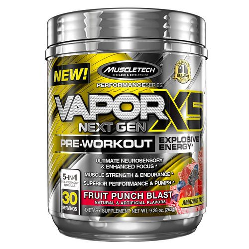 Muscletech, VaporX5 Next Gen, Pre-Workout, Fruit Punch Blast, 9.28 oz (263 g) Review