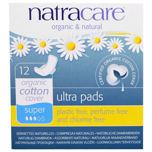 Natracare, Ultra Pads, Organic Cotton Cover, Super+, 12 Pads Review