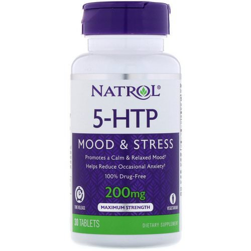 Natrol, 5-HTP, Time Release, Maximum Strength, 200 mg, 30 Tablets Review