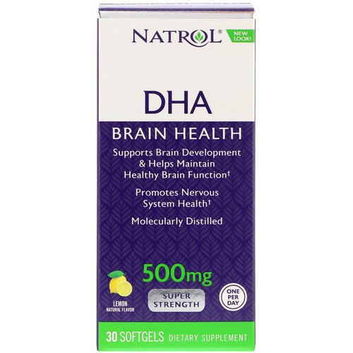 Natrol, DHA, Brain Health, Lemon, 500 mg, 30 Softgels Review