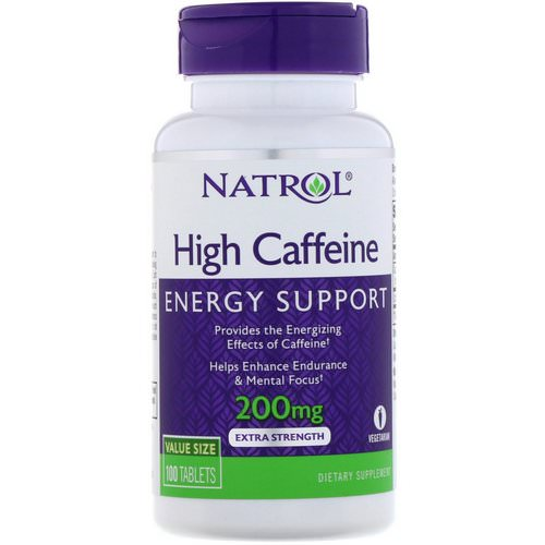 Natrol, High Caffeine, Extra Strength, 200 mg, 100 Tablets Review