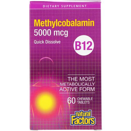 Natural Factors, B12, Methylcobalamin, 5000 mcg, 60 Chewable Tablets Review