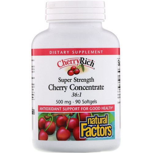 Natural Factors, CherryRich, Super Strength Cherry Concentrate, 500 mg, 90 Softgels Review