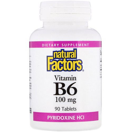 Natural Factors, Vitamin B6, Pyridoxine HCl, 100 mg, 90 Tablets Review
