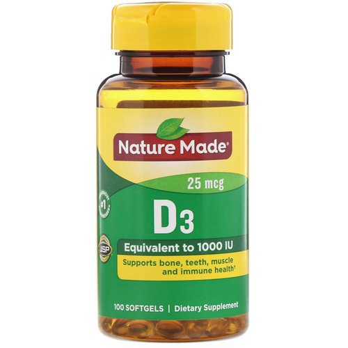 Nature Made, Vitamin D3, 25 mcg, 100 Softgels Review