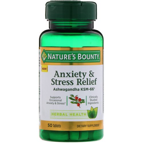 Nature's Bounty, Anxiety & Stress Relief, Ashwagandha KSM-66, 50 Tablets Review