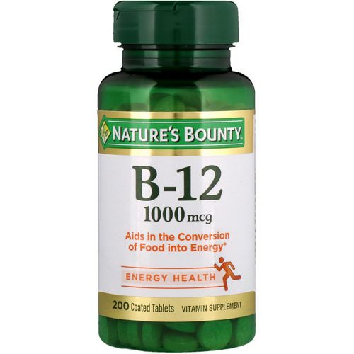 Nature's Bounty, B-12, 1,000 mcg, 200 Coated Tablets Review