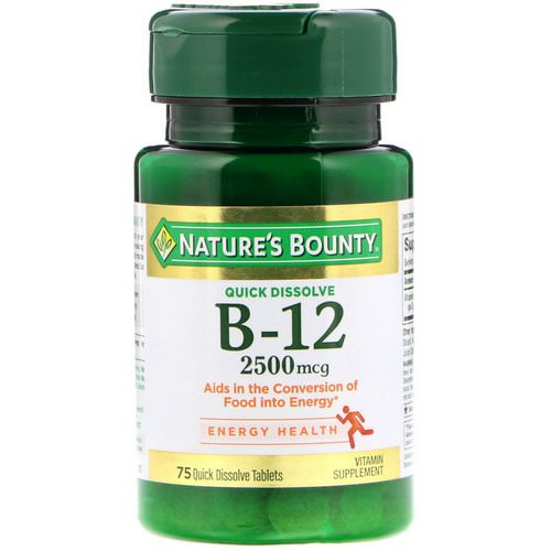 Nature's Bounty, B-12, Natural Cherry Flavor, 2500 mcg, 75 Quick Dissolve Tablets Review