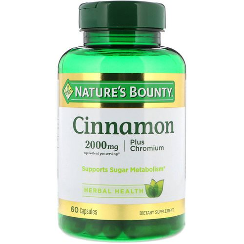 Nature's Bounty, Cinnamon, Plus Chromium, 2000 mg, 60 Capsules Review