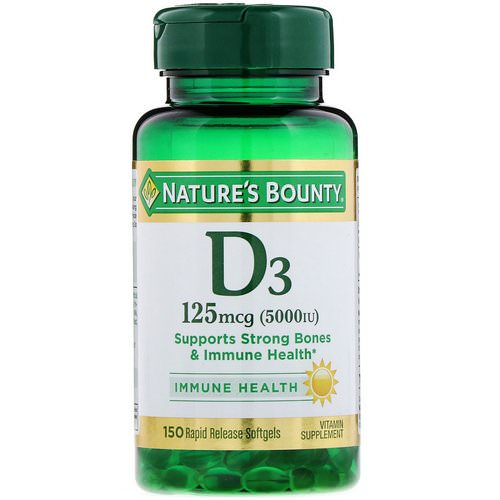 Nature's Bounty, D3, Immune Health, 125 mcg (5,000 IU), 150 Rapid Release Softgels Review