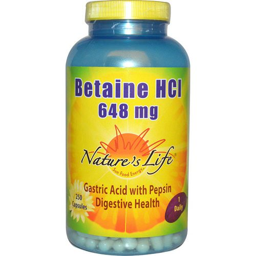 Nature's Life, Betaine HCl, 648 mg, 250 Capsules Review