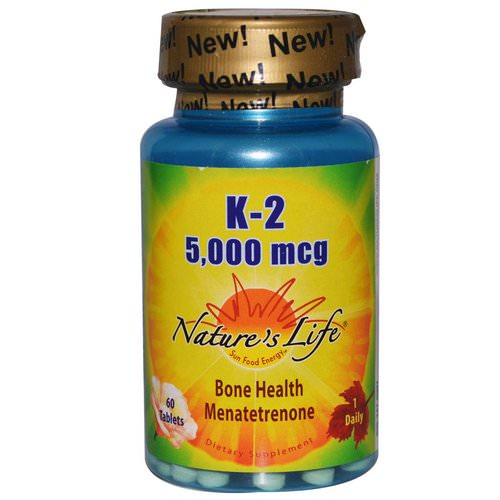 Nature's Life, K-2, Bone Health Menatetrenone, 5,000 mcg, 60 Tablets Review