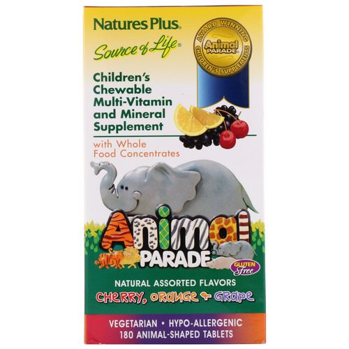 Nature's Plus, Animal Parade, Children's Chewable Multi-Vitamin and Mineral, Assorted Flavors, 180 Animal-Shaped Tablets Review