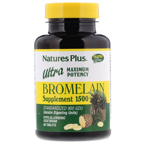 Nature's Plus, Bromelain Supplement 1500, Ultra Maximum Potency, 60 Tablets Review