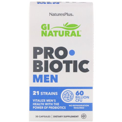 Nature's Plus, GI Natural Probiotic Men, 60 Billion CFU, 30 Capsules Review
