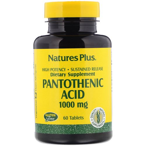 Nature's Plus, Pantothenic Acid, 1000 mg, 60 Tablets Review