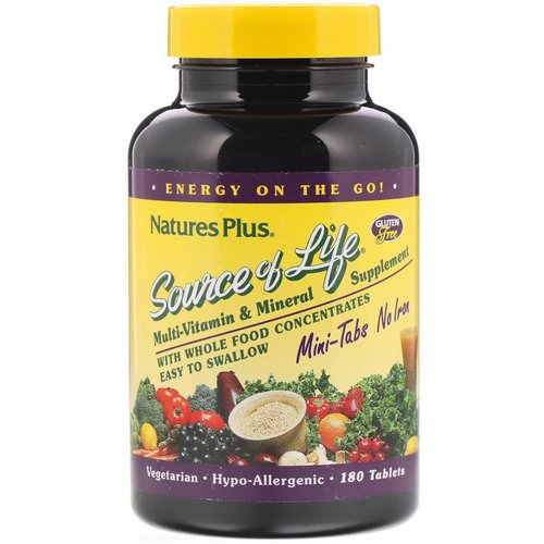 Nature's Plus, Source of Life, Multi-Vitamin & Mineral Supplement, No Iron, 180 Tablets Review
