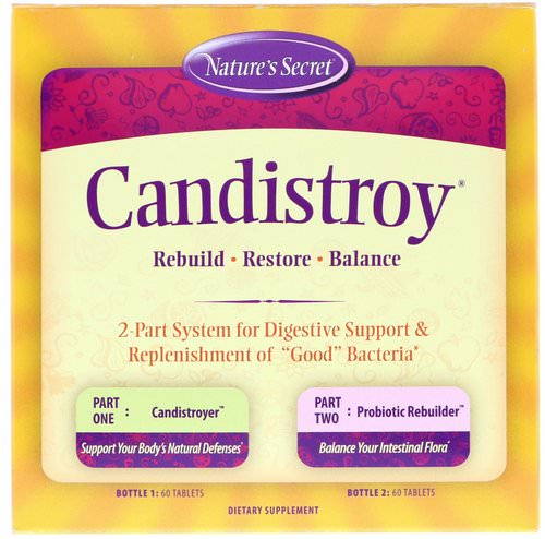 Nature's Secret, Candistroy, 2 Part System, 2 Bottles, 60 Tablets Each Review