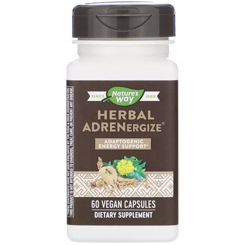 Nature's Way, Herbal Adrenergize, Adaptogenic Energy Support, 60 Vegan Capsules Review