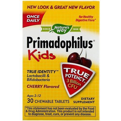 Nature's Way, Primadophilus, Kids, Cherry, 3 Billion CFU, 30 Chewable Tablets Review