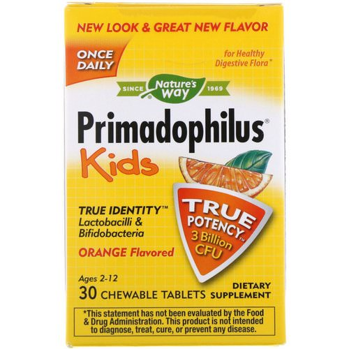 Nature's Way, Primadophilus, Kids, Orange, 3 Billion CFU, 30 Chewable Tablets Review