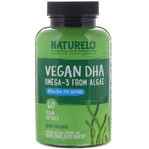 NATURELO, Vegan DHA, Omega-3 from Algae, 800 mg, 60 Vegan Softgels Review