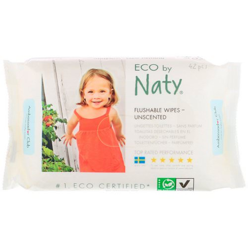 Naty, Flushable Wipes, Unscented, 42 Wipes Review
