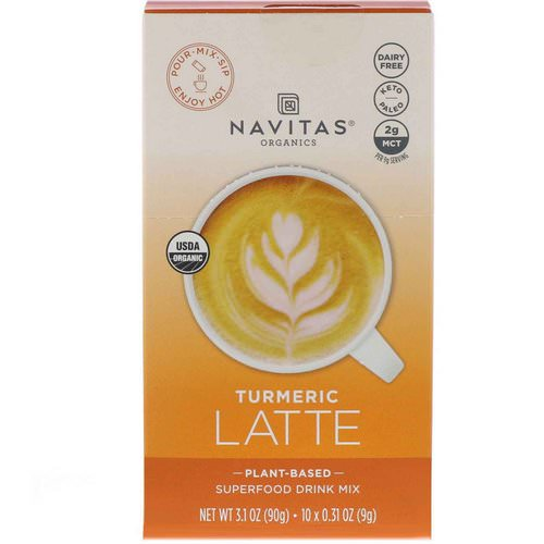 Navitas Organics, Latte Superfood Drink Mix, Turmeric, 10 Packets, 0.31 oz (9 g) Each Review