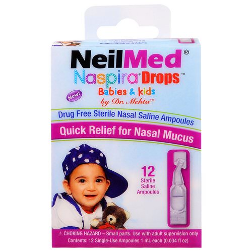 NeilMed, Naspira Drops, Babies & Kids, 12 Sterile Saline Ampoules, 0.034 fl oz (1 ml) Each Review