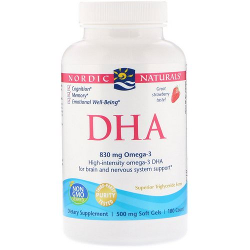 Nordic Naturals, DHA, Strawberry, 500 mg, 180 Soft Gels Review
