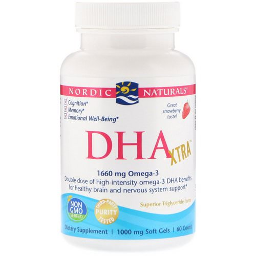 Nordic Naturals, DHA Xtra, Strawberry, 1,000 mg, 60 Soft Gels Review