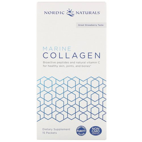Nordic Naturals, Marine Collagen, Great Strawberry Taste, 15 Stick Packets, 5 g Each Review