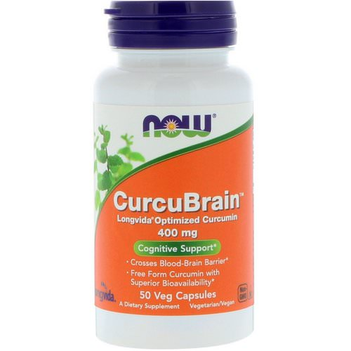 Now Foods, CurcuBrain, Cognitive Support, 400 mg, 50 Veg Capsules Review