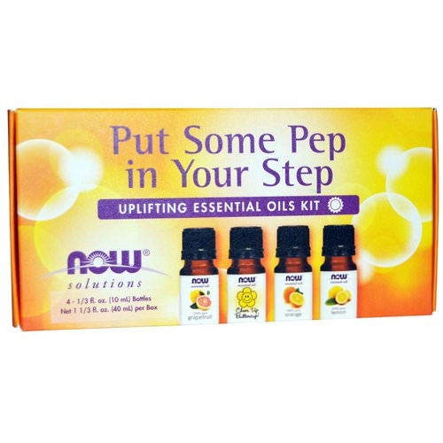 Now Foods, Essential Oils Kit, Put Some Pep in Your Step, Uplifting, 4 Bottles, 1/3 fl oz (10 ml) Review