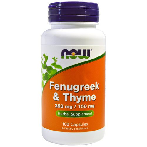 Now Foods, Fenugreek & Thyme, 350 mg/150 mg, 100 Capsules Review
