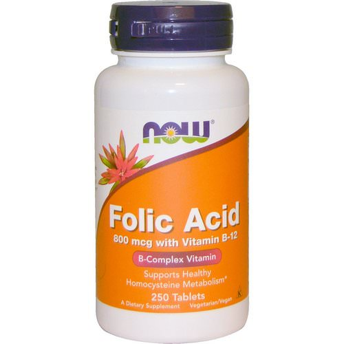 Now Foods, Folic Acid with Vitamin B-12, 800 mcg, 250 Tablets Review