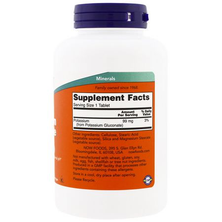 鉀, 礦物質: Now Foods, Potassium Gluconate, 99 mg, 250 Tablets
