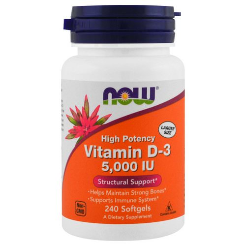 Now Foods, Vitamin D-3, High Potency, 5,000 IU, 240 Softgels Review