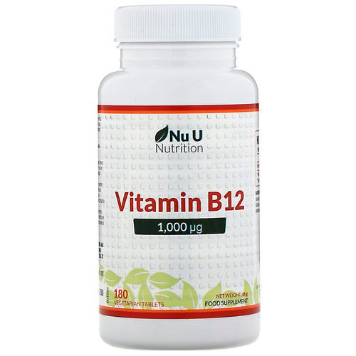 Nu U Nutrition, Vitamin B12, 1,000 µg, 180 Vegetarian Tablets Review