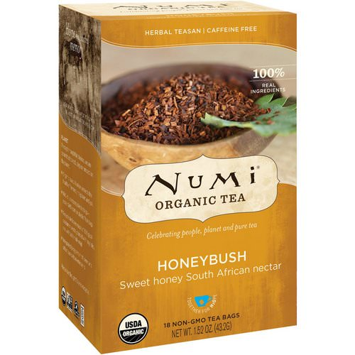 Numi Tea, Organic Tea, Herbal Teasan, Honeybush, Caffeine Free, 18 Tea Bags, 1.52 oz (43.2 g) Review