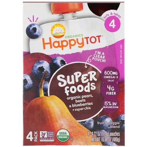 Happy Family Organics, Organic Happy Tot, Super Foods, Organic Pears, Beets & Blueberries + Super Chia, Stage 4, 4 Pack, 4.22 oz (120 g) Each Review