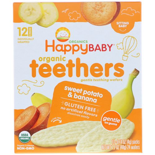 Happy Family Organics, Organic Teethers, Gentle Teething Wafers, Sitting Baby, Sweet Potato & Banana, 12 Packs, 0.14 oz (4 g) Each Review