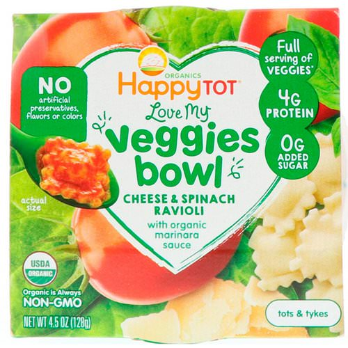 Happy Family Organics, Organics Happy Tot, Love My Veggies Bowl, Cheese & Spinach Ravioli, 4.5 oz (128 g) Review